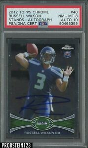 2012 Topps Chrome Russell Wilson RC Rookie Stands PSA 8 PSA/DNA 10 AUTO