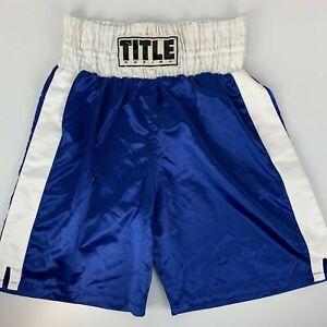 Title Professional Boxing XXL 2XL Trunks Blue Fight Training Shorts MMA Boxer