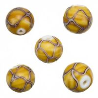 Handmade Wavy Patterned Brown Round Glass Beads 15mm Pack of 5 A89//1