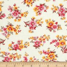 Quilt Cotton Fabric Spring Ahead Red Pink Floral on Light Cream - Craft Sewing