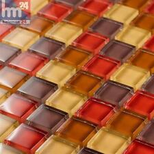 Mosaico in Vetro Barcelona Piastrelle Mosaico Grigio Talpa Rosso Marrone Giallo