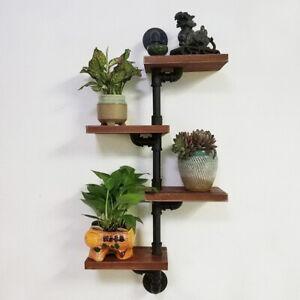 4 Tiers Industrial Wall Mount Iron Pipe Shelf Retro Rustic Urban Wooden Vintage
