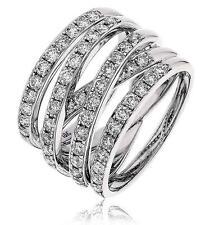 Diamond trama grossa Wide 5-Band Ring 1.33ct taglio a brillante F VS in oro bianco 18ct
