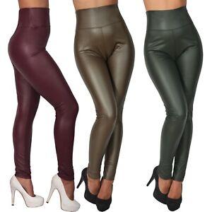 Sexy Leggings High Waist Hose Jeggings Treggings Jeans Lederimitat Optik 5299