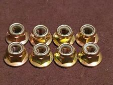 New listing New Lot of 8 Grade 10 Gold Flanged Nylock Lock Nuts M12x1.75; Free S/H!
