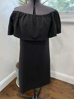 Seed Black Off Shoulder Ribbed Dress Size S EUC