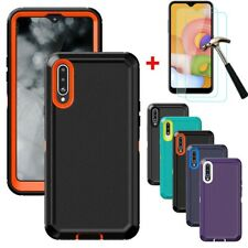 For Samsung Galaxy A01 A20S Case Shockproof Armor Cover+Tempered Glass Protector