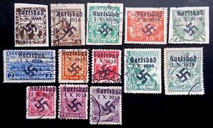 SUDETENLAND WWII, GERMAN OCCUP.  USED LOT (Karlsbad)