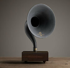 New Bluetooth Gramophone Amplifying Wireless Iron Brass Horn Speaker - Walnut