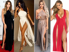 UK Women Party Cocktail Dress Thigh Slit Split Bodyco Club Flare Long Maxi Skirt