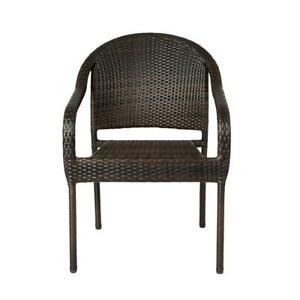 Patio Sense Dining Chair Set Lightweight Wicker Outdoor Stainless Steel 4 Piece