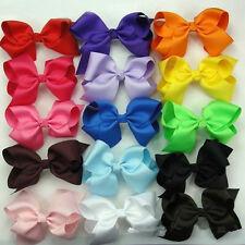 12pcs Boutique Girls Baby Hair Bows Alligator Clip Pin Bowknot Grosgrain Ribbon