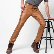 Leather Jeans Pant Real Style Men Mens 501 Pants S Trousers Bikers Punk Tan 32