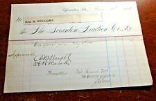 New listing Antique - The Scranton Traction Co - Scranton Pa 1896 Billhead