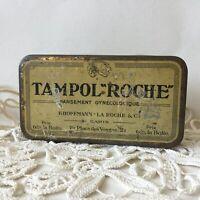 """Vintage TAMPOL """"ROCHE"""" Paris Gynécologique Metal Tin Box"""