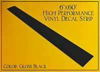 "6""x60"" *GLOSS BLACK* Racing Stripe Vinyl Windshield Decal Strip Sticker Banner"