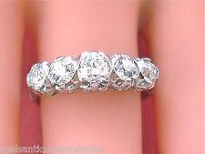 VINTAGE 1.41ctw EURO DIAMOND PLATINUM CLASSIC 5 STONE RING 1950