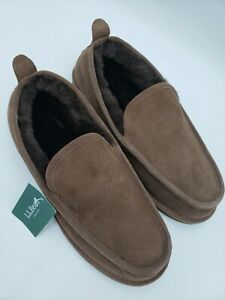 LL Bean Wicked Good Slip On Slippers Men Size 9 Brown ⭐ Shearling Lamb Fur New
