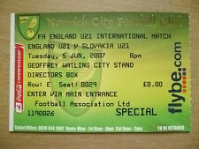 Ticket- 2007 FA England U21 International - ENGLAND U21 v SLOVAKIA U21, 5 June