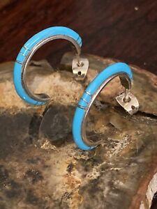 Vintage Zuni Sterling Silver Sleeping Beauty Turquoise Inlay Half Hoop Earrings