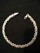14k Two-Tone Gold Diamond Cut XO Hugs & Kisses Link Bracelet 7.25""