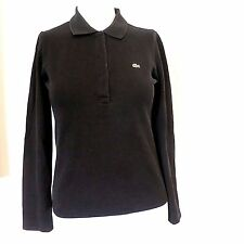 LADIES LACOSTE BLACK COTTON STRETCH 1/2 SNAP LONG SLEEVE PIQUE POLO SHIRT  38 XS