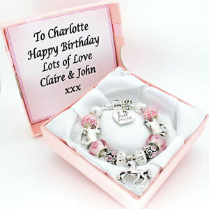 Girls Horse Pony Bracelet PERSONALISED BOX Pink Beads Charms Jewellery Gifts