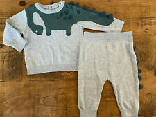 Baby Boy 3-6 months Tu Grey Green Knitted DINOSAUR 2 piece outfit Good Cond