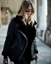 UK WOMEN STYLE BLACK FAUX Leather Shearling FUR COLLAR AVIATOR BIKER JACKET Coat