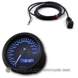 Kit sensore + Contachilometri Elettronico Daytona Dark Luce Blu 260Km/h