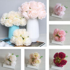 5Heads Artificial Fake Peony Silk Flower Bridal Bouquet Hydrangea Home Wedding
