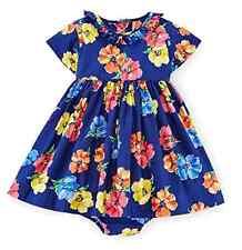 Ralph Lauren Polo Girls Floral Print Party Dress Set, Size 6 M, Blue Multi