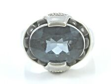 LARGE BLUE TOPAZ STERLING SILVER COCKTAIL RING SIZE 10 1/4