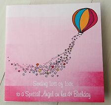 BIRTHDAY CARD FOR ANGEL IN HEAVEN - LOSS OF SOMEONE SPECIAL - PINK  DESIGN