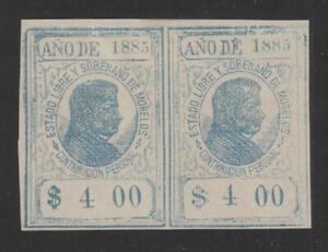 Mexico - Morelos 1885 Revenue Stamp 4 Pesos pair, Unused