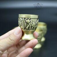 Retro Handmade Bronze Carved Wine Glasses Antique Wind Elephant Metal Goblet