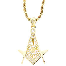 Iced Out Bling Micro Pave Pendentif - Franc-maçonnerie gold