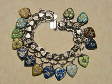 Vintage Sterling silver charm bracelet-15 enameled puffy heart charms
