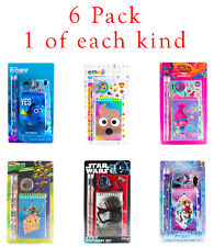 Varieity 6 Pack Stationery Sets Star Wars TMNT Frozen Finding Dory Emoji Trolls