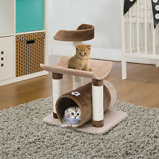 Pawhut New Cat Tree Tower Scratcher Tunnel Furniture Kitten Climbing Post Toy