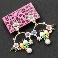 Colorful Enamel Crystal Pearl Flower Birds Earbob Betsey Johnson Dangle Earrings