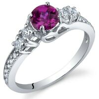 0.75 carat Round Created Ruby Gemstone Ring in Sterling Silver