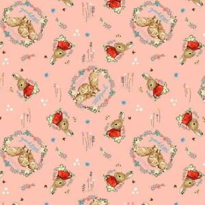 Beatrix Potter Flopsy Mopsy Good Little Bunnies Digitally Printed Cotton Fab BTY