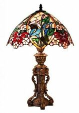 Table Lamp Metal Copper Tiffany Style Red Pink Blue Flowers Stained Glass Shade