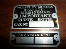 Typenschild Wolseley Motors Schild ID-Plate Birmingham Important Alu