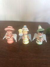 Set Of 3 Wooden Angels Vintage Germany