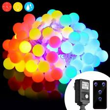100 LED Globe String Chain Fairy 33ft Lights  Multi-Colored 8 Modes  Waterproof