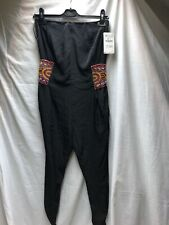 Zara Black Silky Strapless Jumpsuit Beaded Xs 6-8