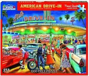 Puzzle - American Drive-In - Mustangs & More! - 1000 Pieces * FREE USA SHIPPING!