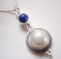 Cultured Pearl and Lapis 925 Sterling Silver Pendant Corona Sun Jewelry